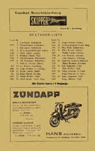 Deltagerliste Kolding 22 august 1954